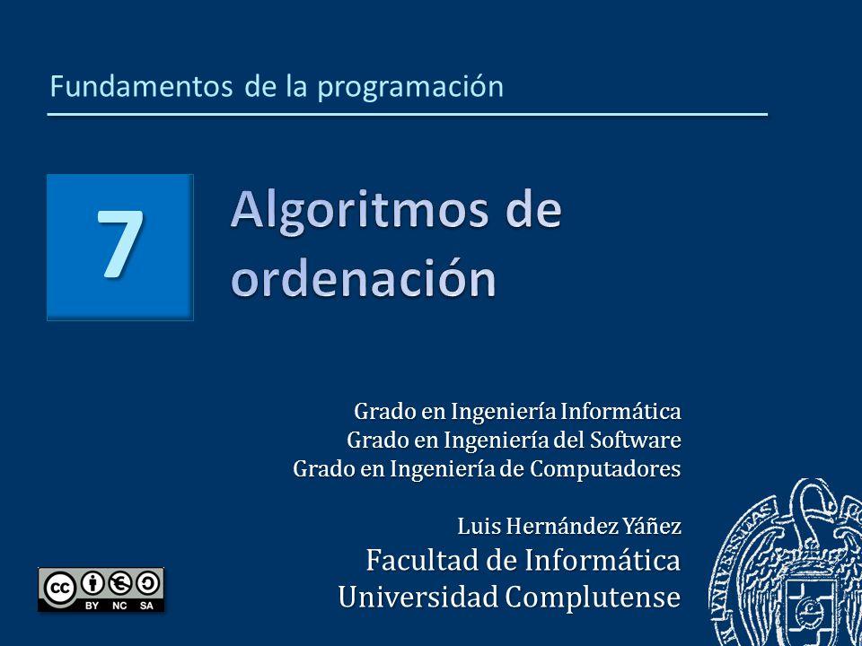 Luis Hernández Yáñez Fundamentos de la programación: Algoritmos de ordenación Algoritmos de ordenación651 Algoritmo de ordenación por inserción654 Ordenación de arrays por inserción665 Algoritmo de ordenación por inserción con intercambios672 Claves de ordenación680 Estabilidad de la ordenación688 Complejidad y eficiencia692 Ordenaciones naturales694 Ordenación por selección directa701 Método de la burbuja716 Listas ordenadas722 Búsquedas en listas ordenadas729 Búsqueda binaria731