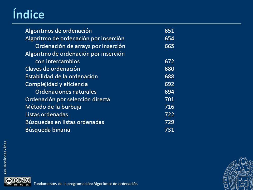Luis Hernández Yáñez Claves de ordenación Elementos que son estructuras con varios campos: const int N = 15; typedef struct { int codigo; int codigo; string nombre; string nombre; double sueldo; double sueldo; } tDato; typedef tDato tLista[N]; tLista lista; Clave de ordenación: Campo en el que se basan las comparaciones Página 681 Fundamentos de la programación: Algoritmos de ordenación