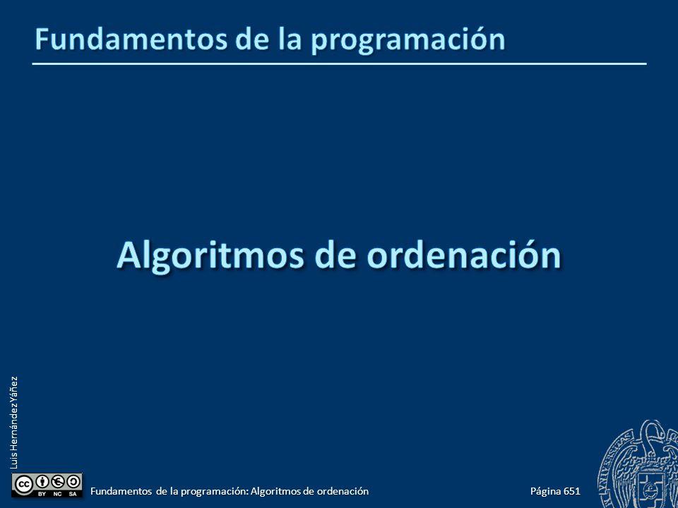 Luis Hernández Yáñez Claves de ordenación tDato tmp; while ((pos > 0) && (lista[pos - 1].nombre > lista[pos].nombre)) { && (lista[pos - 1].nombre > lista[pos].nombre)) { tmp = lista[pos]; tmp = lista[pos]; lista[pos] = lista[pos - 1]; lista[pos] = lista[pos - 1]; lista[pos - 1] = tmp; lista[pos - 1] = tmp; pos--; pos--;} Comparación: campo concreto Intercambio: elementos completos Página 682 Fundamentos de la programación: Algoritmos de ordenación