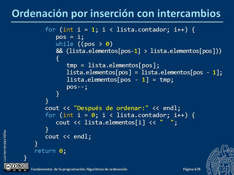 Luis Hernández Yáñez for (int i = 1; i < lista.contador; i++) { for (int i = 1; i < lista.contador; i++) { pos = i; pos = i; while ((pos > 0) while ((