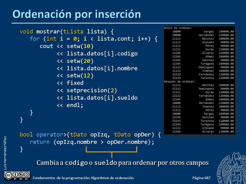 Luis Hernández Yáñez void mostrar(tLista lista) { for (int i = 0; i < lista.cont; i++) { for (int i = 0; i < lista.cont; i++) { cout << setw(10) cout