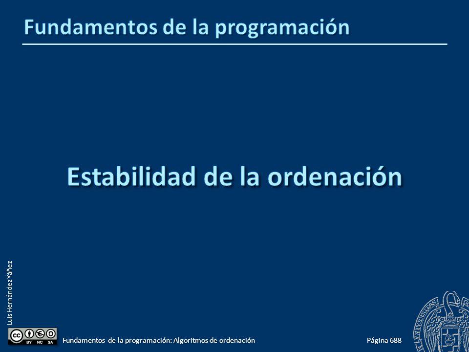 Luis Hernández Yáñez Página 688 Fundamentos de la programación: Algoritmos de ordenación