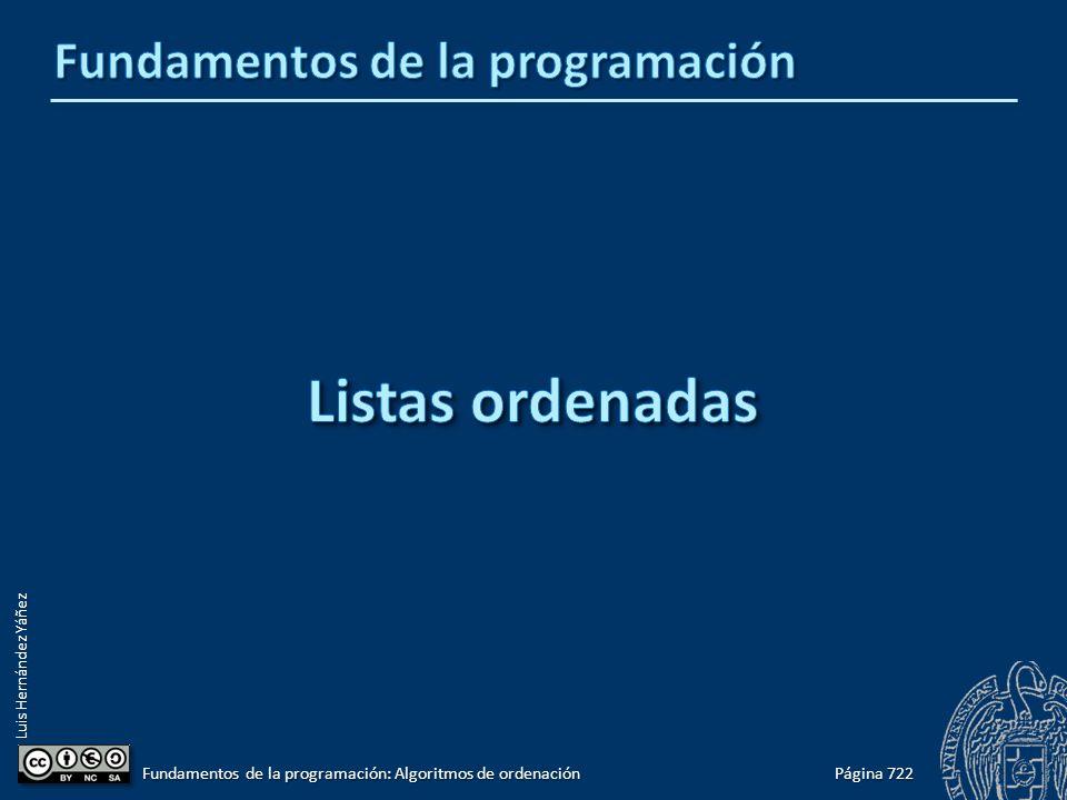 Luis Hernández Yáñez Página 722 Fundamentos de la programación: Algoritmos de ordenación