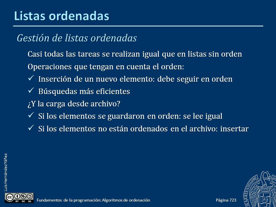 Luis Hernández Yáñez Gestión de listas ordenadas Casi todas las tareas se realizan igual que en listas sin orden Operaciones que tengan en cuenta el o