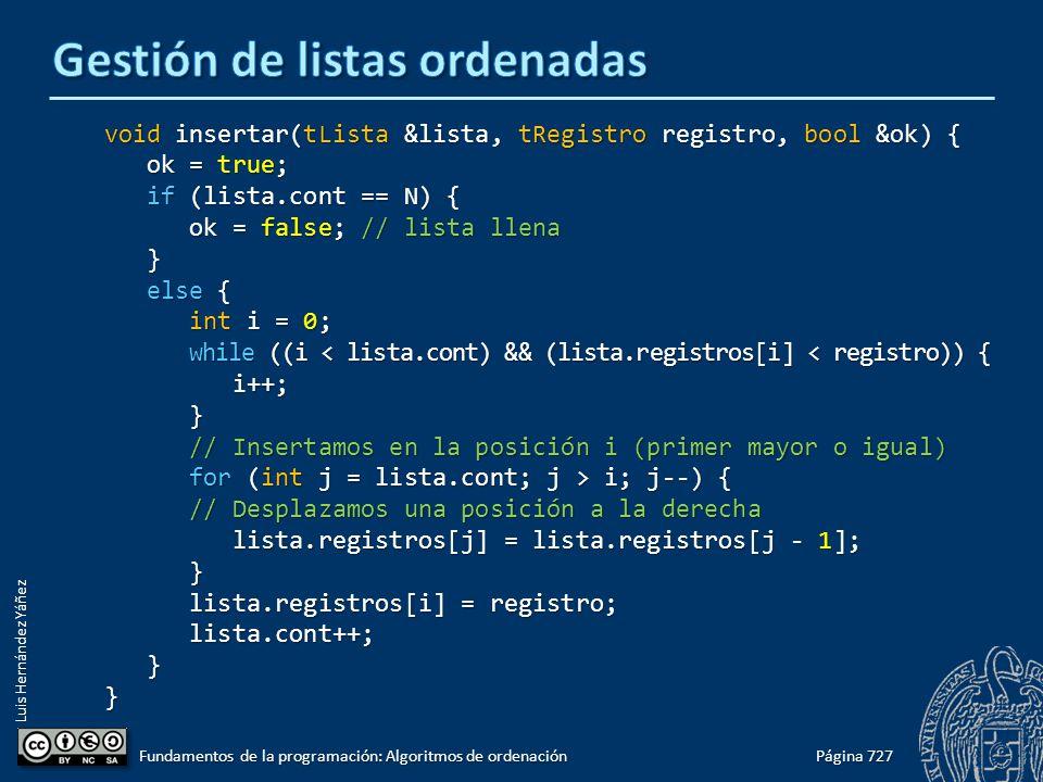 Luis Hernández Yáñez void insertar(tLista &lista, tRegistro registro, bool &ok) { ok = true; ok = true; if (lista.cont == N) { if (lista.cont == N) { ok = false; // lista llena ok = false; // lista llena } else { else { int i = 0; int i = 0; while ((i < lista.cont) && (lista.registros[i] < registro)) { while ((i < lista.cont) && (lista.registros[i] < registro)) { i++; i++; } // Insertamos en la posición i (primer mayor o igual) // Insertamos en la posición i (primer mayor o igual) for (int j = lista.cont; j > i; j--) { for (int j = lista.cont; j > i; j--) { // Desplazamos una posición a la derecha // Desplazamos una posición a la derecha lista.registros[j] = lista.registros[j - 1]; lista.registros[j] = lista.registros[j - 1]; } lista.registros[i] = registro; lista.registros[i] = registro; lista.cont++; lista.cont++; }} Página 727 Fundamentos de la programación: Algoritmos de ordenación