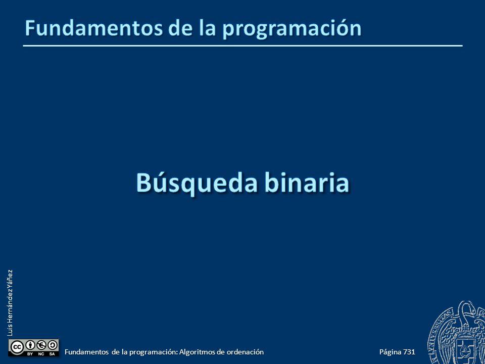 Luis Hernández Yáñez Página 731 Fundamentos de la programación: Algoritmos de ordenación
