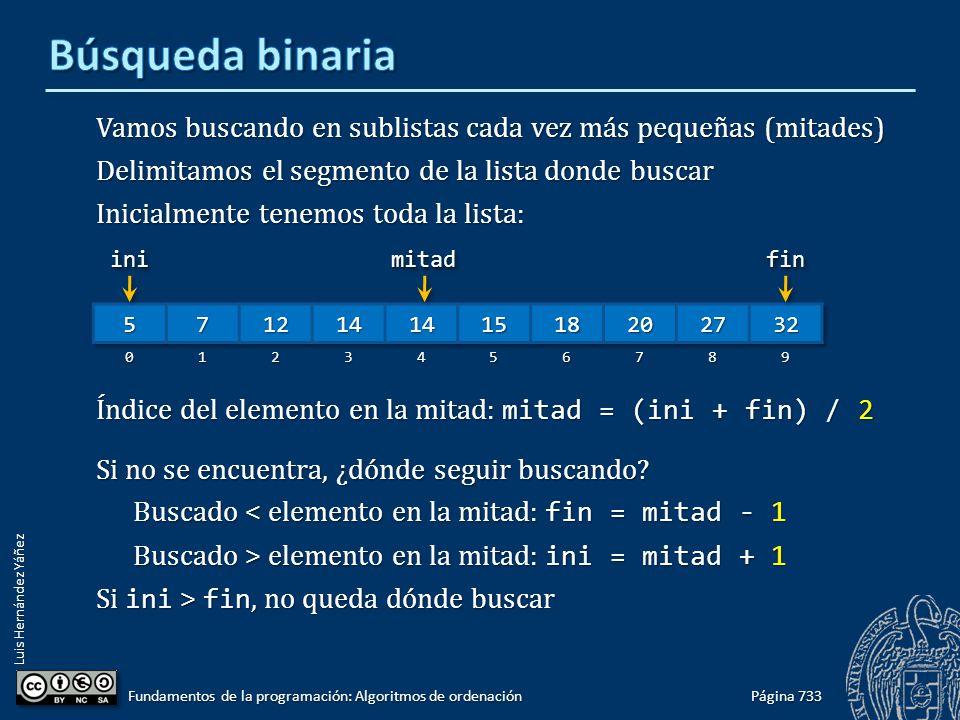 Luis Hernández Yáñez Vamos buscando en sublistas cada vez más pequeñas (mitades) Delimitamos el segmento de la lista donde buscar Inicialmente tenemos toda la lista: Índice del elemento en la mitad: mitad = (ini + fin) / 2 Si no se encuentra, ¿dónde seguir buscando.