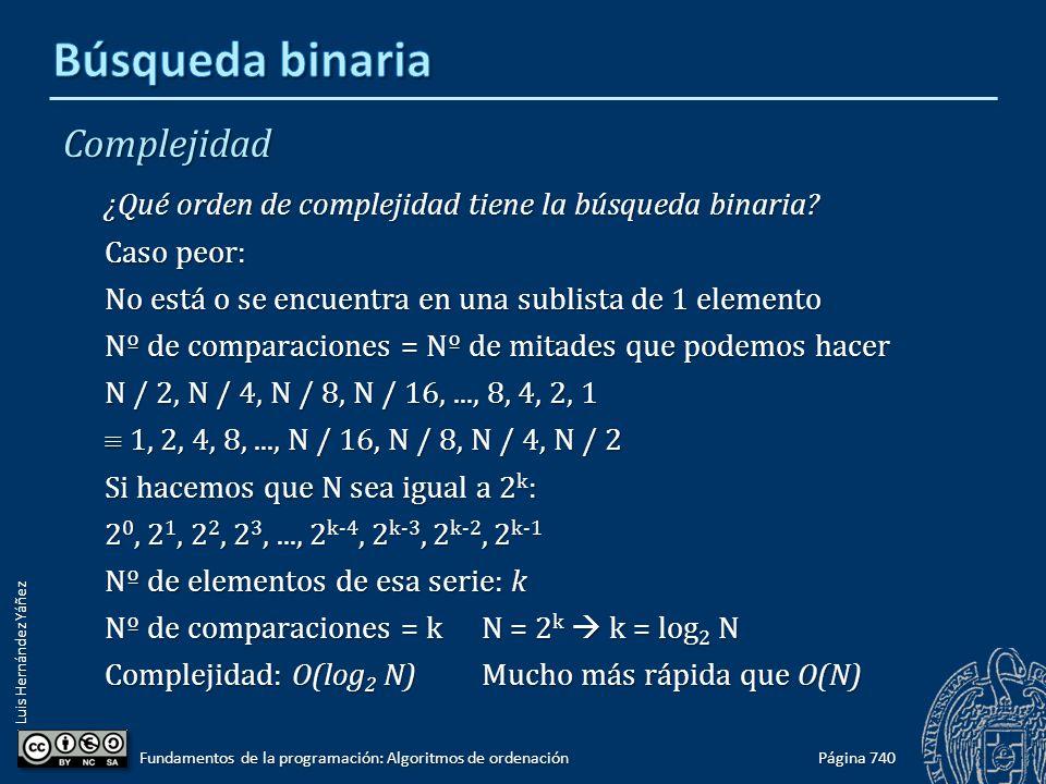 Luis Hernández Yáñez Complejidad ¿Qué orden de complejidad tiene la búsqueda binaria? Caso peor: No está o se encuentra en una sublista de 1 elemento