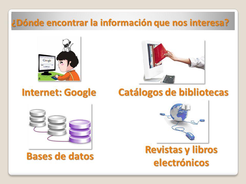 ¿Dónde encontrar la información que nos interesa? Catálogos de bibliotecas Revistas y libros electrónicos Bases de datos Internet: Google