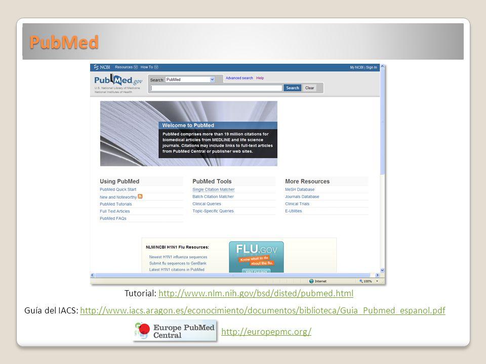 PubMed Tutorial: http://www.nlm.nih.gov/bsd/disted/pubmed.htmlhttp://www.nlm.nih.gov/bsd/disted/pubmed.html Guía del IACS: http://www.iacs.aragon.es/e