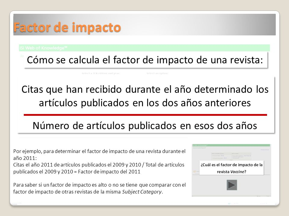 Factor de impacto Citas que han recibido durante el año determinado los artículos publicados en los dos años anteriores Número de artículos publicados
