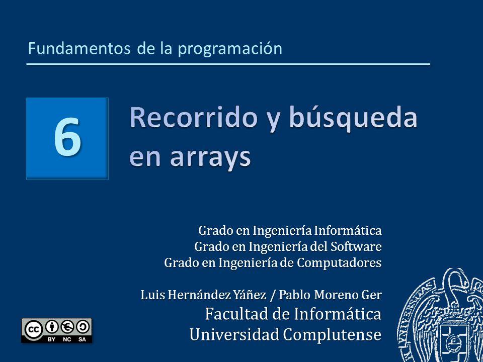 Luis Hernández Yáñez Fundamentos de la programación: Recorrido y búsqueda en arrays Recorrido de arrays590 Arrays completos593 Arrays no completos con centinela594 Arrays no completos con contador595 Ejemplos597 Generación de números aleatorios601 Búsquedas en arrays604 Arrays completos606 Arrays no completos con centinela607 Arrays no completos con contador608 Ejemplo610 Recorridos y búsquedas en cadenas614 Más ejemplos de manejo de arrays617 Arrays multidimensionales630 Inicialización de arrays multidimensionales638 Recorrido de un array bidimensional641 Recorrido de un array N-dimensional644 Búsqueda en un array multidimensional647