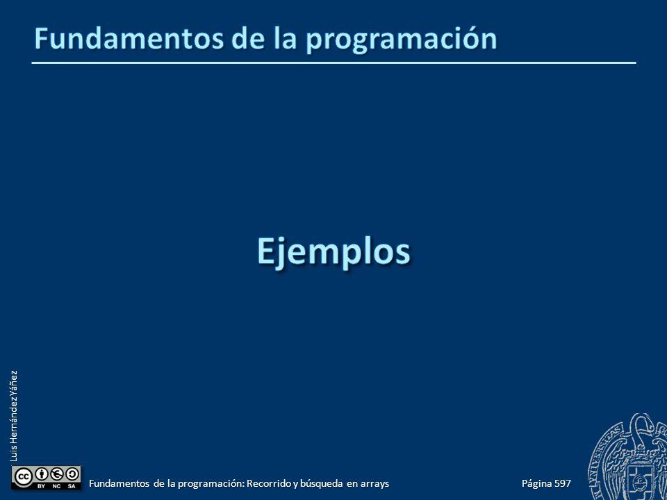 Luis Hernández Yáñez Página 597 Fundamentos de la programación: Recorrido y búsqueda en arrays