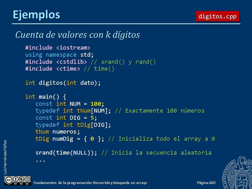 Luis Hernández Yáñez Cuenta de valores con k dígitos #include #include using namespace std; #include // srand() y rand() #include // time() int digito