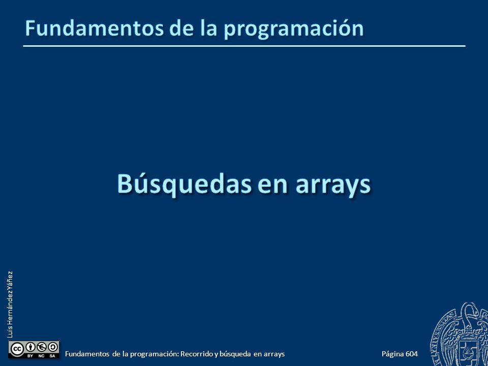 Luis Hernández Yáñez Página 604 Fundamentos de la programación: Recorrido y búsqueda en arrays
