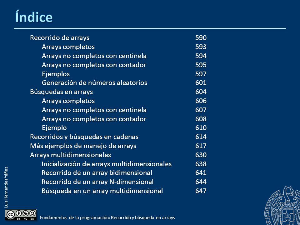Luis Hernández Yáñez Fundamentos de la programación: Recorrido y búsqueda en arrays Recorrido de arrays590 Arrays completos593 Arrays no completos con