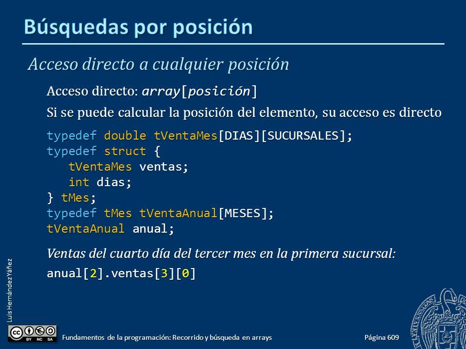 Luis Hernández Yáñez Acceso directo a cualquier posición Acceso directo: array[posición] Si se puede calcular la posición del elemento, su acceso es directo typedef double tVentaMes[DIAS][SUCURSALES]; typedef struct { tVentaMes ventas; tVentaMes ventas; int dias; int dias; } tMes; typedef tMes tVentaAnual[MESES]; tVentaAnual anual; Ventas del cuarto día del tercer mes en la primera sucursal: anual[2].ventas[3][0] Página 609 Fundamentos de la programación: Recorrido y búsqueda en arrays