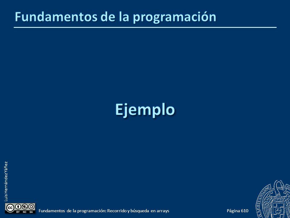 Luis Hernández Yáñez Página 610 Fundamentos de la programación: Recorrido y búsqueda en arrays