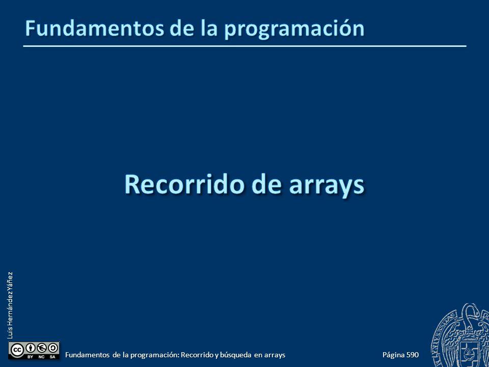 Luis Hernández Yáñez Página 590 Fundamentos de la programación: Recorrido y búsqueda en arrays