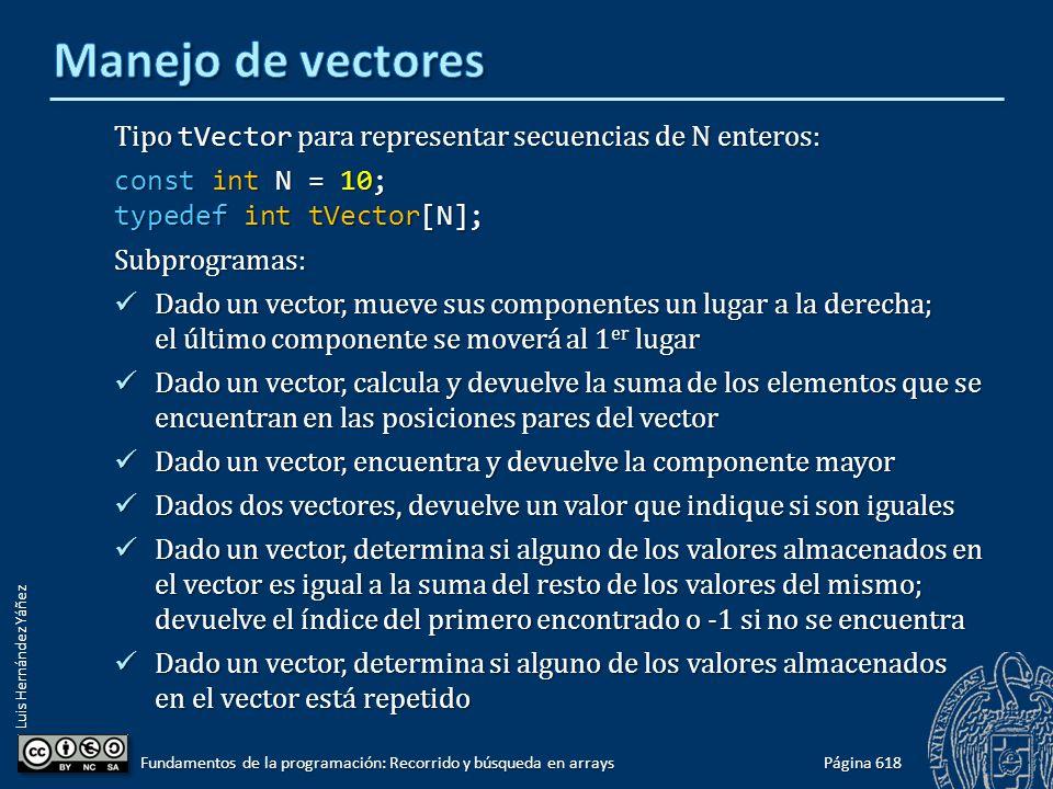 Luis Hernández Yáñez Página 618 Fundamentos de la programación: Recorrido y búsqueda en arrays Tipo tVector para representar secuencias de N enteros: