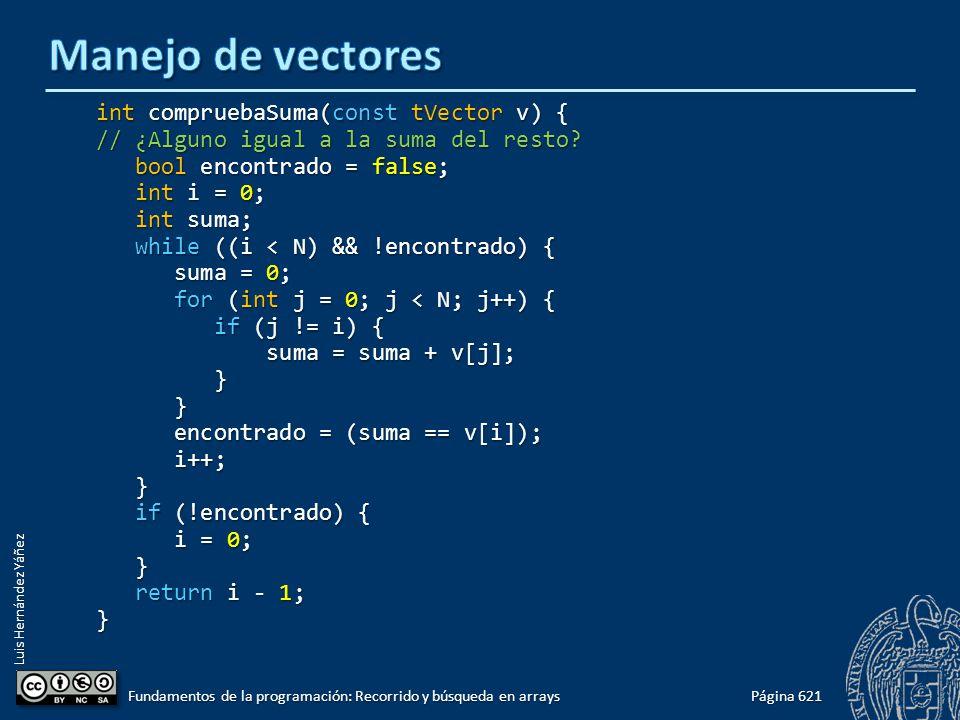 Luis Hernández Yáñez int compruebaSuma(const tVector v) { // ¿Alguno igual a la suma del resto.