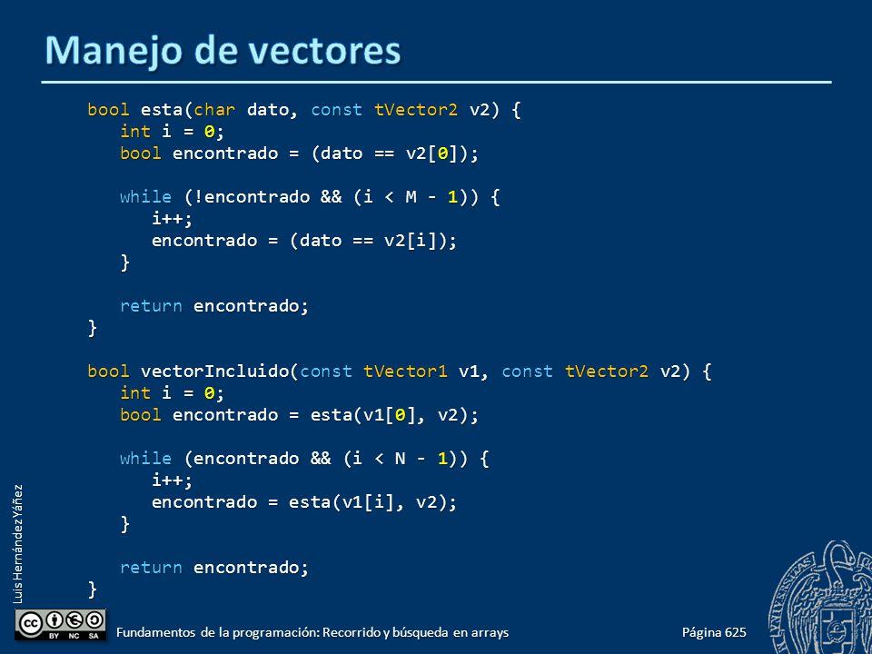 Luis Hernández Yáñez bool esta(char dato, const tVector2 v2) { int i = 0; int i = 0; bool encontrado = (dato == v2[0]); bool encontrado = (dato == v2[