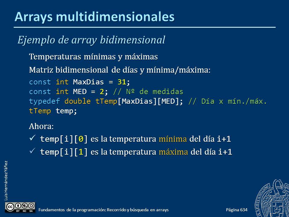 Luis Hernández Yáñez Ejemplo de array bidimensional Temperaturas mínimas y máximas Matriz bidimensional de días y mínima/máxima: const int MaxDias = 31; const int MED = 2; // Nº de medidas typedef double tTemp[MaxDias][MED]; // Día x mín./máx.