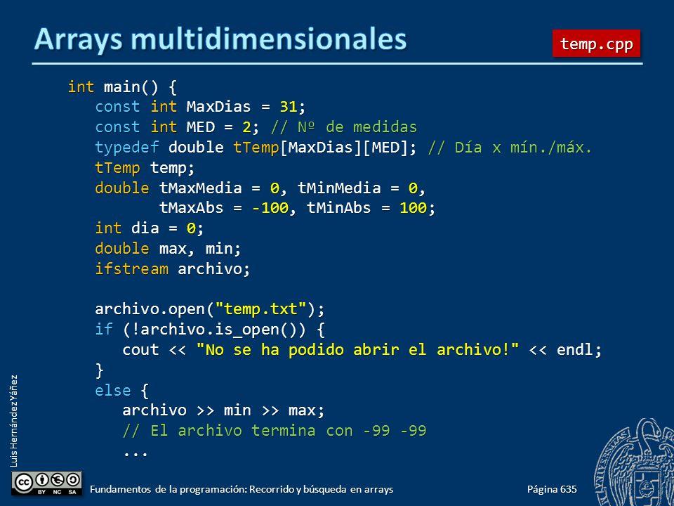 Luis Hernández Yáñez int main() { const int MaxDias = 31; const int MaxDias = 31; const int MED = 2; // Nº de medidas const int MED = 2; // Nº de medi