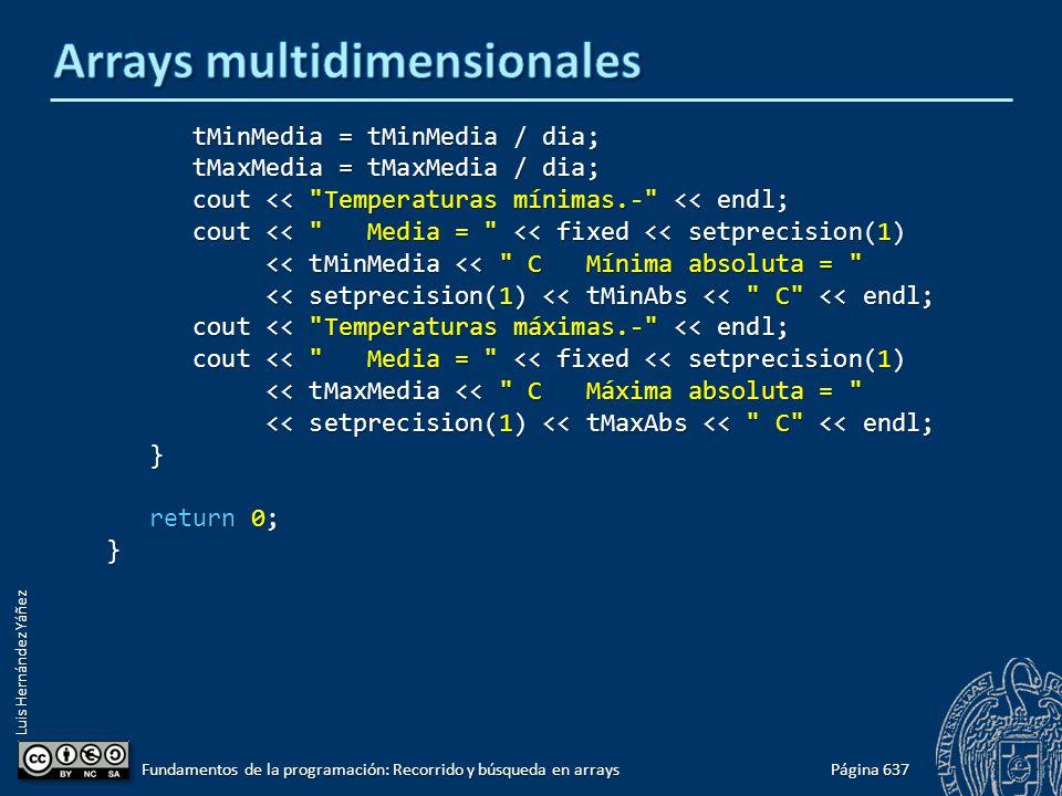 Luis Hernández Yáñez tMinMedia = tMinMedia / dia; tMinMedia = tMinMedia / dia; tMaxMedia = tMaxMedia / dia; tMaxMedia = tMaxMedia / dia; cout <<