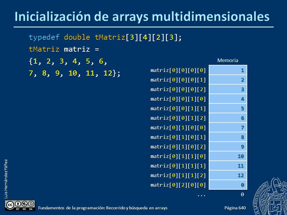 Luis Hernández Yáñez typedef double tMatriz[3][4][2][3]; tMatriz matriz = {1, 2, 3, 4, 5, 6, 7, 8, 9, 10, 11, 12}; Página 640 Fundamentos de la progra