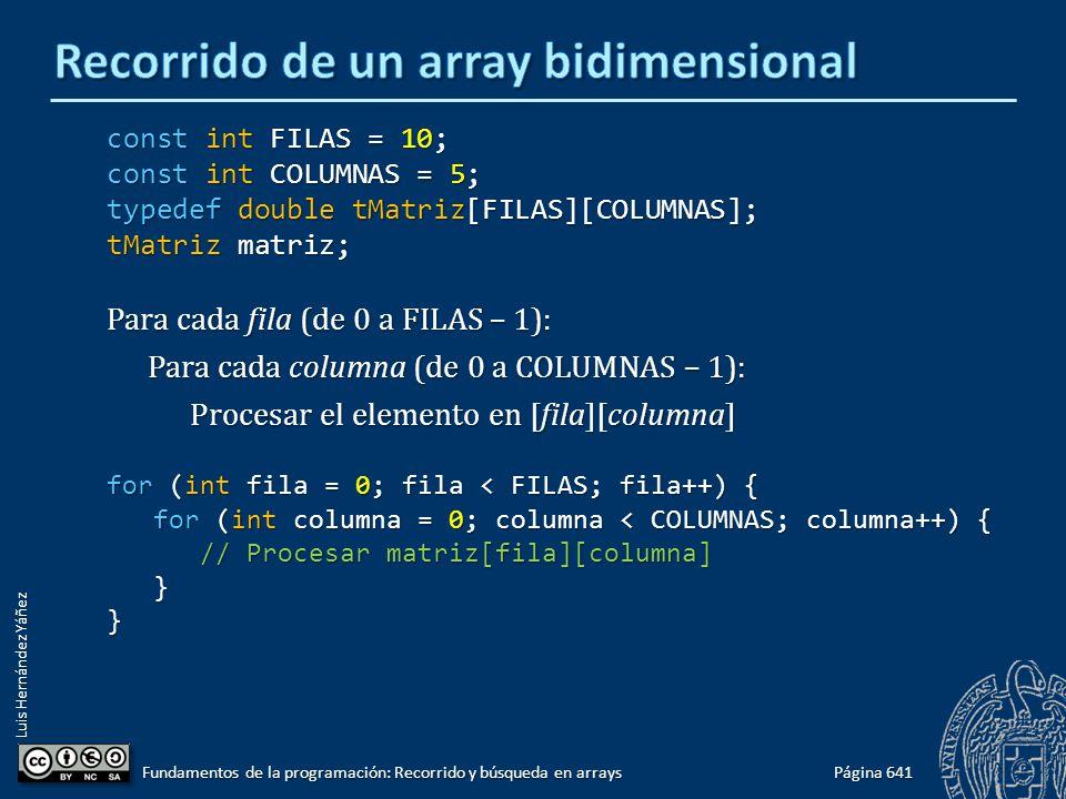 Luis Hernández Yáñez const int FILAS = 10; const int COLUMNAS = 5; typedef double tMatriz[FILAS][COLUMNAS]; tMatriz matriz; Para cada fila (de 0 a FILAS – 1): Para cada columna (de 0 a COLUMNAS – 1): Procesar el elemento en [fila][columna] for (int fila = 0; fila < FILAS; fila++) { for (int columna = 0; columna < COLUMNAS; columna++) { for (int columna = 0; columna < COLUMNAS; columna++) { // Procesar matriz[fila][columna] // Procesar matriz[fila][columna] }} Página 641 Fundamentos de la programación: Recorrido y búsqueda en arrays
