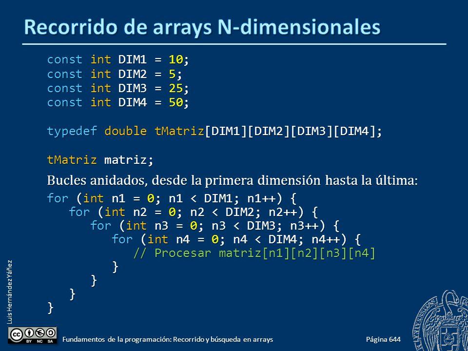 Luis Hernández Yáñez const int DIM1 = 10; const int DIM2 = 5; const int DIM3 = 25; const int DIM4 = 50; typedef double tMatriz[DIM1][DIM2][DIM3][DIM4]; tMatriz matriz; Bucles anidados, desde la primera dimensión hasta la última: for (int n1 = 0; n1 < DIM1; n1++) { for (int n2 = 0; n2 < DIM2; n2++) { for (int n2 = 0; n2 < DIM2; n2++) { for (int n3 = 0; n3 < DIM3; n3++) { for (int n3 = 0; n3 < DIM3; n3++) { for (int n4 = 0; n4 < DIM4; n4++) { for (int n4 = 0; n4 < DIM4; n4++) { // Procesar matriz[n1][n2][n3][n4] // Procesar matriz[n1][n2][n3][n4] } } }} Página 644 Fundamentos de la programación: Recorrido y búsqueda en arrays