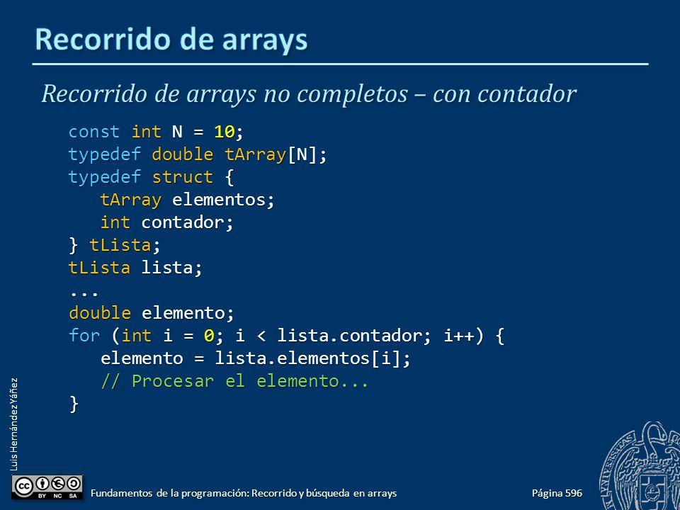 Luis Hernández Yáñez tMinMedia = tMinMedia / dia; tMinMedia = tMinMedia / dia; tMaxMedia = tMaxMedia / dia; tMaxMedia = tMaxMedia / dia; cout << Temperaturas mínimas.- << endl; cout << Temperaturas mínimas.- << endl; cout << Media = << fixed << setprecision(1) cout << Media = << fixed << setprecision(1) << tMinMedia << C Mínima absoluta = << tMinMedia << C Mínima absoluta = << setprecision(1) << tMinAbs << C << endl; << setprecision(1) << tMinAbs << C << endl; cout << Temperaturas máximas.- << endl; cout << Temperaturas máximas.- << endl; cout << Media = << fixed << setprecision(1) cout << Media = << fixed << setprecision(1) << tMaxMedia << C Máxima absoluta = << tMaxMedia << C Máxima absoluta = << setprecision(1) << tMaxAbs << C << endl; << setprecision(1) << tMaxAbs << C << endl; } return 0; return 0;} Página 637 Fundamentos de la programación: Recorrido y búsqueda en arrays