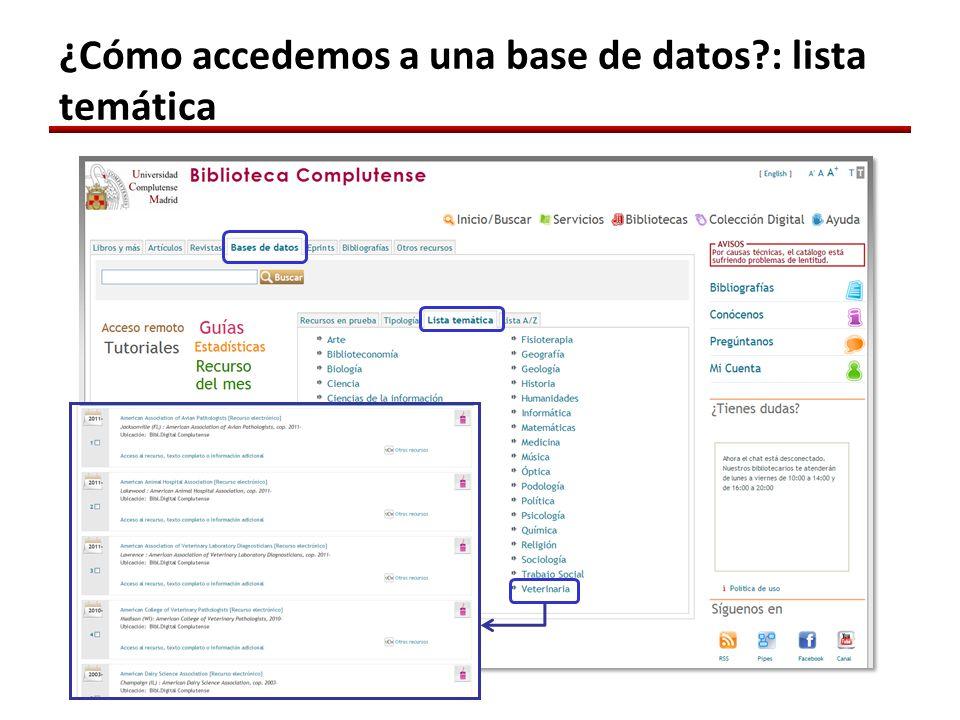 ¿Cómo accedemos a una base de datos?: lista temática