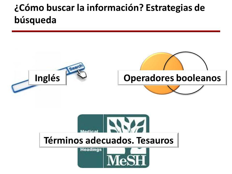¿Cómo buscar la información. Estrategias de búsqueda Inglés Términos adecuados.