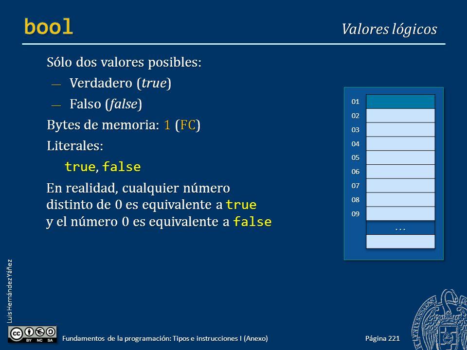 Luis Hernández Yáñez Sólo dos valores posibles: Verdadero (true) Verdadero (true) Falso (false) Falso (false) Bytes de memoria: 1 (FC) Literales: true