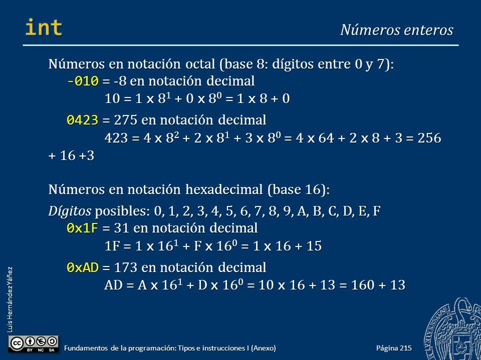 Luis Hernández Yáñez Números en notación octal (base 8: dígitos entre 0 y 7): -010 = -8 en notación decimal 10 = 1 x 8 1 + 0 x 8 0 = 1 x 8 + 0 0423 =