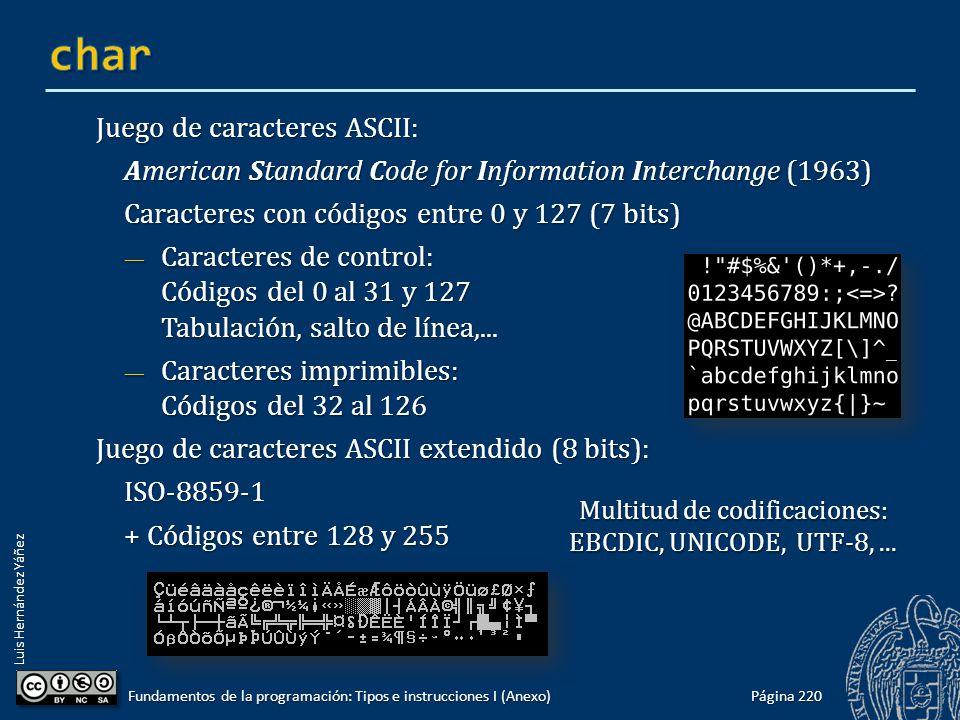 Luis Hernández Yáñez Juego de caracteres ASCII: American Standard Code for Information Interchange (1963) Caracteres con códigos entre 0 y 127 (7 bits