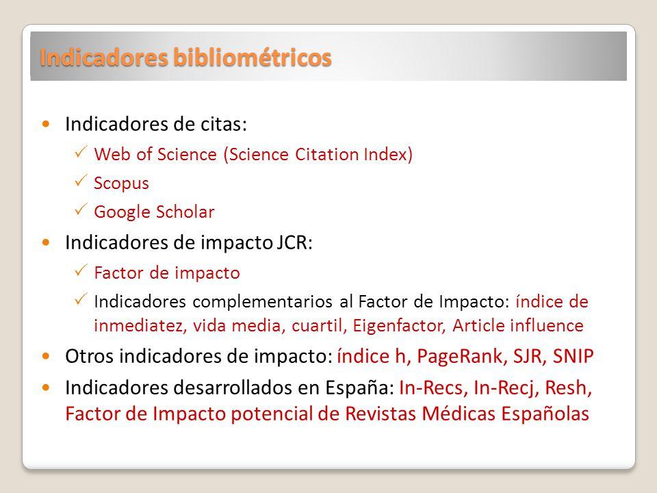 Indicadores bibliométricos Indicadores de citas: Web of Science (Science Citation Index) Scopus Google Scholar Indicadores de impacto JCR: Factor de impacto Indicadores complementarios al Factor de Impacto: índice de inmediatez, vida media, cuartil, Eigenfactor, Article influence Otros indicadores de impacto: índice h, PageRank, SJR, SNIP Indicadores desarrollados en España: In-Recs, In-Recj, Resh, Factor de Impacto potencial de Revistas Médicas Españolas