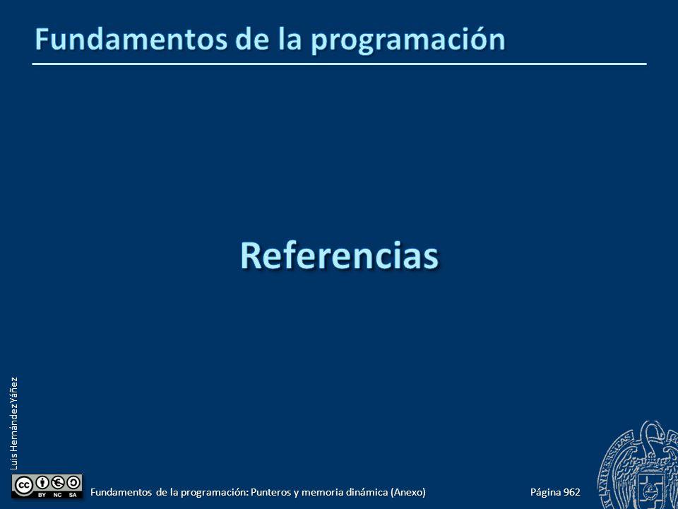 Luis Hernández Yáñez Página 962 Fundamentos de la programación: Punteros y memoria dinámica (Anexo)