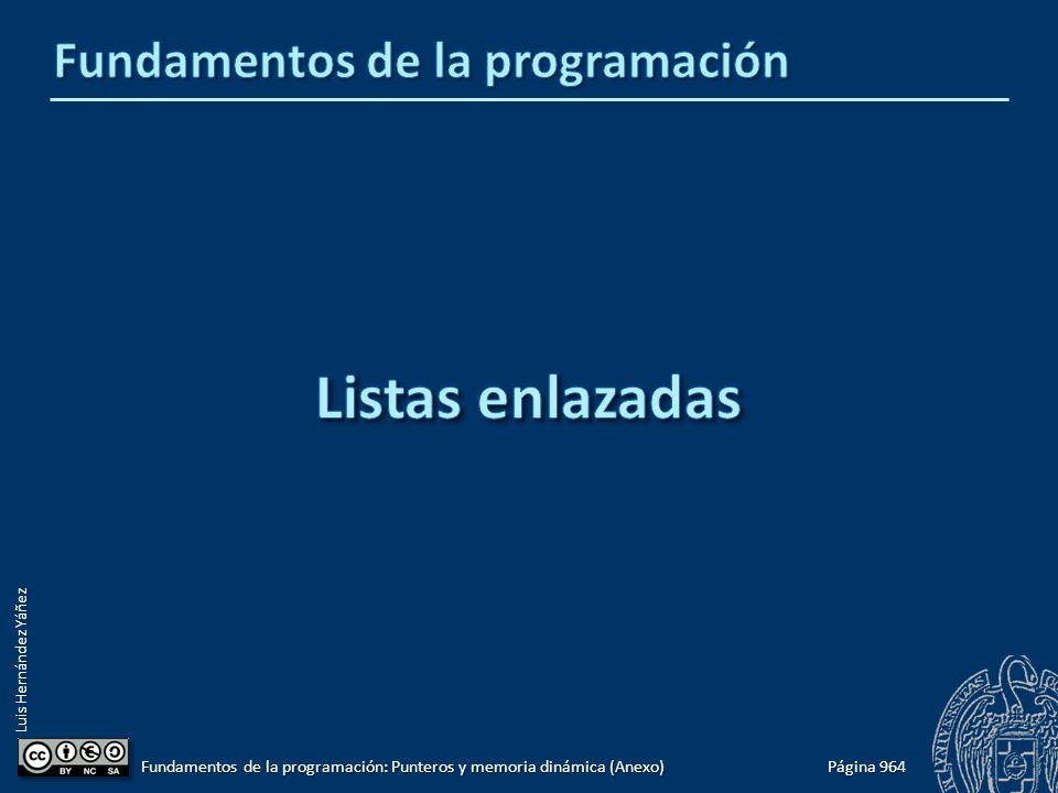 Luis Hernández Yáñez Página 964 Fundamentos de la programación: Punteros y memoria dinámica (Anexo)