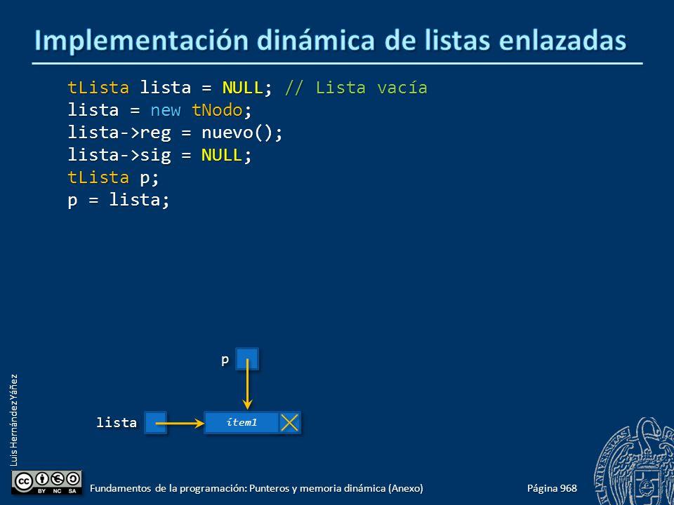 Luis Hernández Yáñez Página 968 Fundamentos de la programación: Punteros y memoria dinámica (Anexo) tLista lista = NULL; // Lista vacía lista = new tNodo; lista->reg = nuevo(); lista->sig = NULL; tLista p; p = lista; listalista ítem1 pp