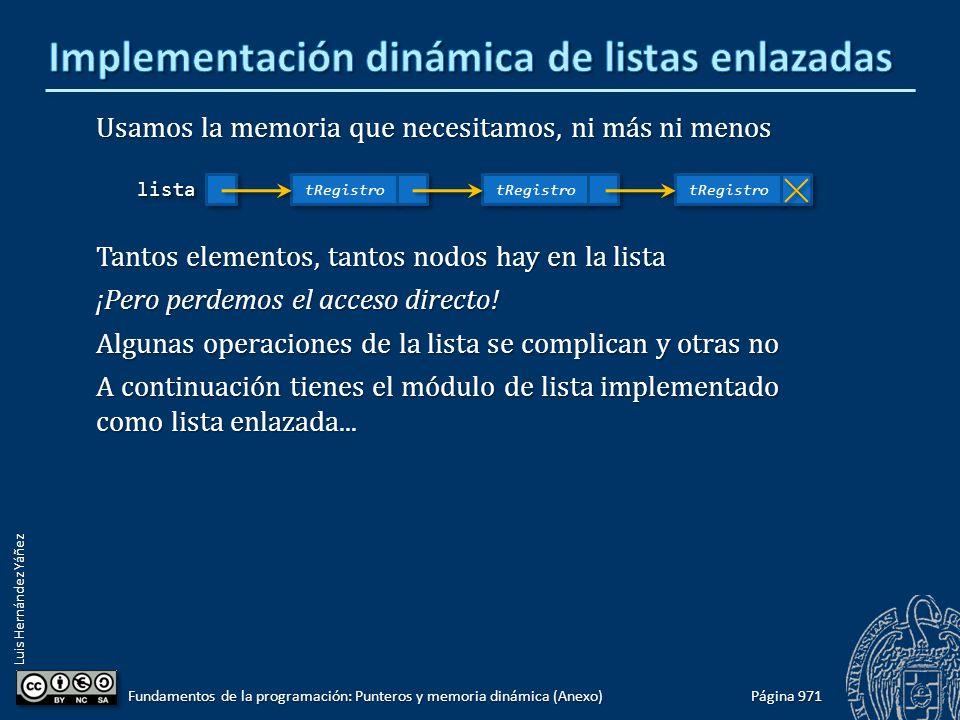 Luis Hernández Yáñez Página 971 Fundamentos de la programación: Punteros y memoria dinámica (Anexo) Usamos la memoria que necesitamos, ni más ni menos Tantos elementos, tantos nodos hay en la lista ¡Pero perdemos el acceso directo.