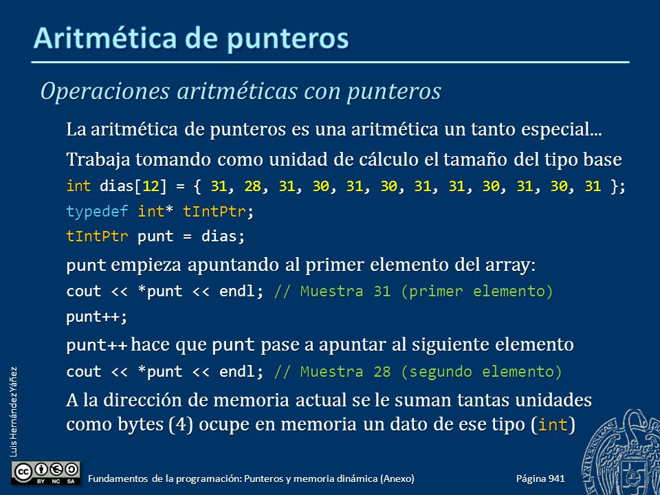 Luis Hernández Yáñez Operaciones aritméticas con punteros La aritmética de punteros es una aritmética un tanto especial...