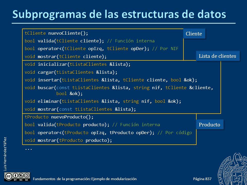 Luis Hernández Yáñez tCliente nuevoCliente(); bool valida(tCliente cliente); // Función interna bool operator<(tCliente opIzq, tCliente opDer); // Por NIF void mostrar(tCliente cliente); void inicializar(tListaClientes &lista); void cargar(tListaClientes &lista); void insertar(tListaClientes &lista, tCliente cliente, bool &ok); void buscar(const tListaClientes &lista, string nif, tCliente &cliente, bool &ok); void eliminar(tListaClientes &lista, string nif, bool &ok); void mostrar(const tListaClientes &lista); tProducto nuevoProducto(); bool valida(tProducto producto); // Función interna bool operator<(tProducto opIzq, tProducto opDer); // Por código void mostrar(tProducto producto);...