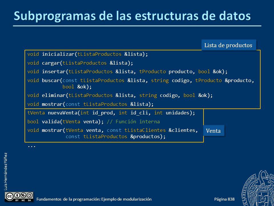 Luis Hernández Yáñez void inicializar(tListaProductos &lista); void cargar(tListaProductos &lista); void insertar(tListaProductos &lista, tProducto producto, bool &ok); void buscar(const tListaProductos &lista, string codigo, tProducto &producto, bool &ok); void eliminar(tListaProductos &lista, string codigo, bool &ok); void mostrar(const tListaProductos &lista); tVenta nuevaVenta(int id_prod, int id_cli, int unidades); bool valida(tVenta venta); // Función interna void mostrar(tVenta venta, const tListaClientes &clientes, const tListaProductos &productos);...