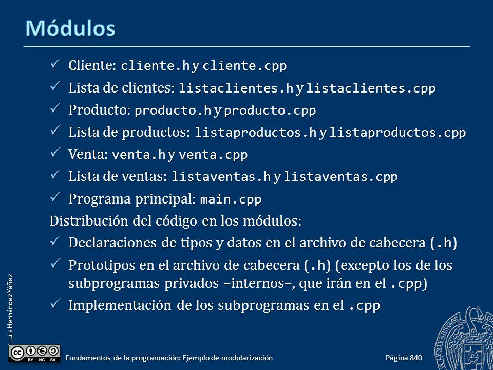 Luis Hernández Yáñez Cliente: cliente.h y cliente.cpp Cliente: cliente.h y cliente.cpp Lista de clientes: listaclientes.h y listaclientes.cpp Lista de clientes: listaclientes.h y listaclientes.cpp Producto: producto.h y producto.cpp Producto: producto.h y producto.cpp Lista de productos: listaproductos.h y listaproductos.cpp Lista de productos: listaproductos.h y listaproductos.cpp Venta: venta.h y venta.cpp Venta: venta.h y venta.cpp Lista de ventas: listaventas.h y listaventas.cpp Lista de ventas: listaventas.h y listaventas.cpp Programa principal: main.cpp Programa principal: main.cpp Distribución del código en los módulos: Declaraciones de tipos y datos en el archivo de cabecera (.h ) Declaraciones de tipos y datos en el archivo de cabecera (.h ) Prototipos en el archivo de cabecera (.h ) (excepto los de los subprogramas privados –internos–, que irán en el.cpp ) Prototipos en el archivo de cabecera (.h ) (excepto los de los subprogramas privados –internos–, que irán en el.cpp ) Implementación de los subprogramas en el.cpp Implementación de los subprogramas en el.cpp Página 840 Fundamentos de la programación: Ejemplo de modularización