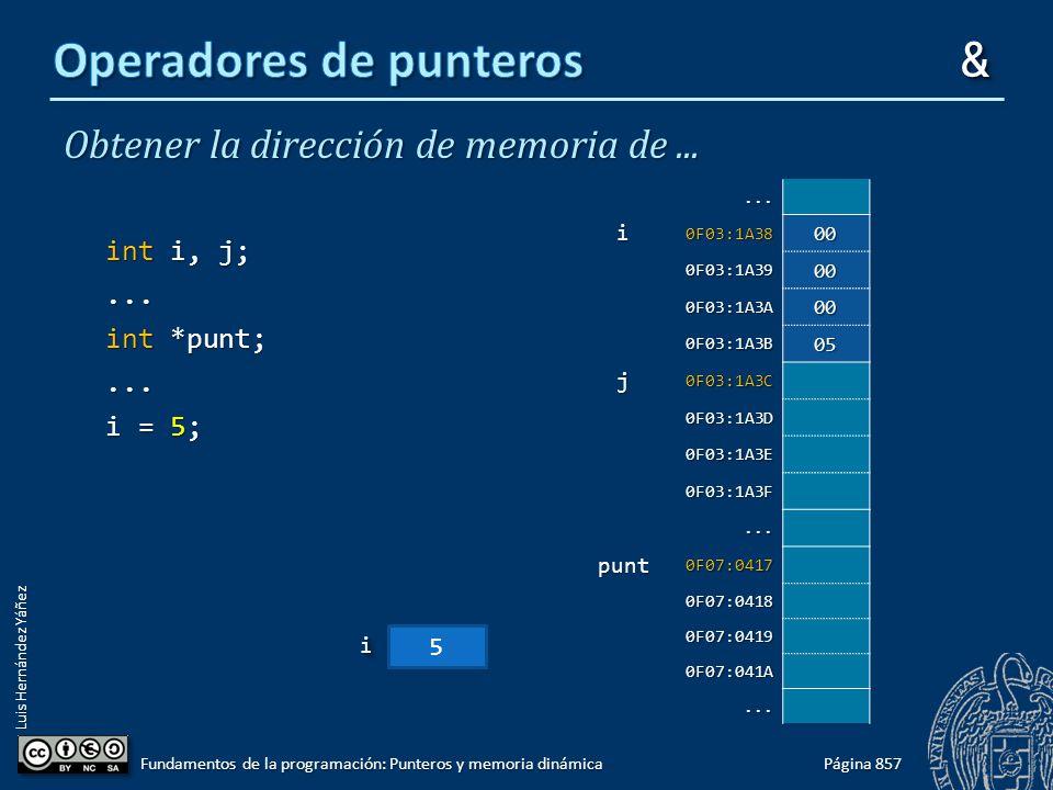 Luis Hernández Yáñez Obtener la dirección de memoria de... int i, j;... int *punt;... i = 5; Página 857 Fundamentos de la programación: Punteros y mem