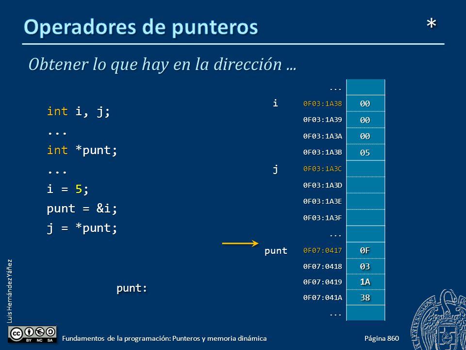 Luis Hernández Yáñez Obtener lo que hay en la dirección... int i, j;... int *punt;... i = 5; punt = &i; j = *punt; Página 860 Fundamentos de la progra