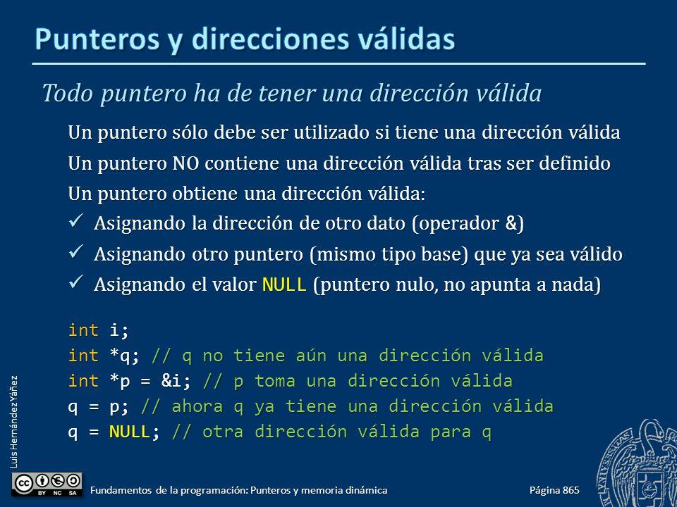 Luis Hernández Yáñez Todo puntero ha de tener una dirección válida Un puntero sólo debe ser utilizado si tiene una dirección válida Un puntero NO cont